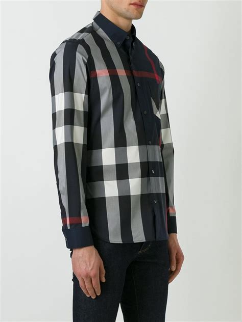 burberry pattern t shirt lyst burberry checked pattern shirt in blue for men