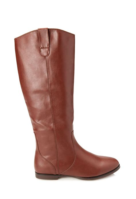 forever boots forever 21 faux leather boots in brown chestnut