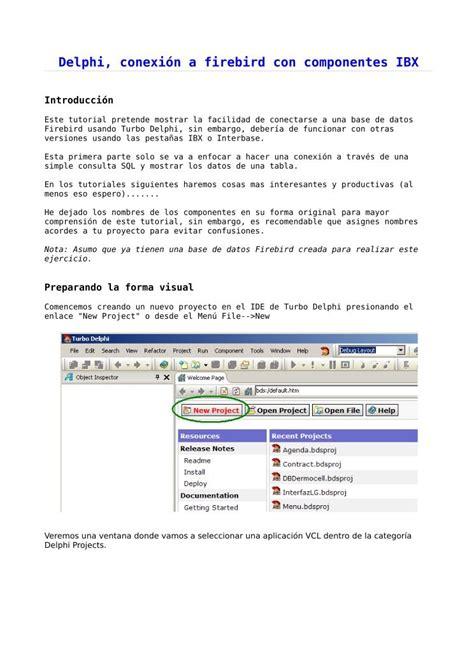 tutorial delphi firebird pdf de programaci 243 n delphi conexi 243 n a firebird con