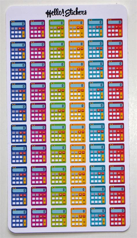 colorful calculator colorful calculator stickers erin condren plum planner