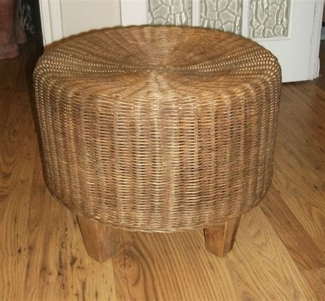 vintage retro wicker stool footstool gc