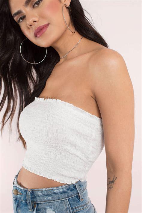 cute white crop top strapless top white top white
