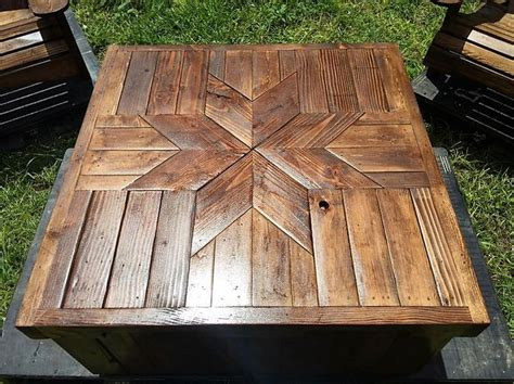 Pallet Patio Table Patio Furniture Set Made With Wooden Pallets