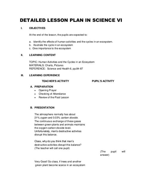 lesson plan template science detailed lesson plan in science vi