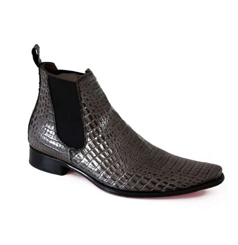 mens grey boots leather grey crocodile boots with soles mens ankle boots with
