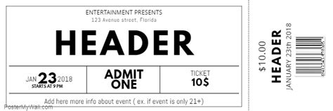 Black And White Free Concert Event Ticket Template Postermywall Customizable Pass Template