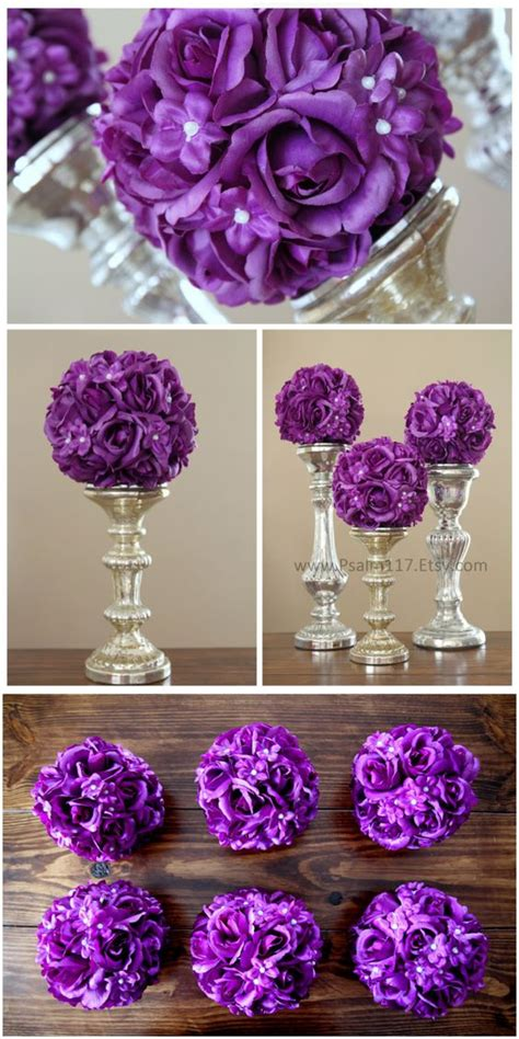 6 inch wide rose and pearl wedding pomander balls plum