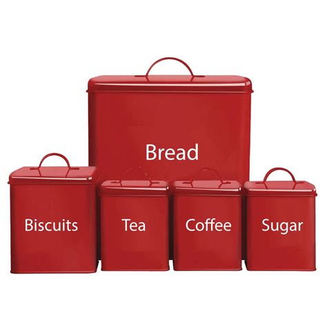 kitchen coffee tea 5 storage set kitchen bread bin sugar coffee tea