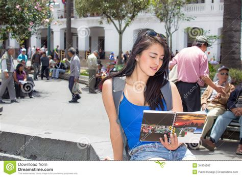 women in this town young woman tourist in historic old town quito royalty free stock photography image 34976587