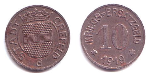 can möbel krefeld 10 pfennig 1919 g crefeld notgeld stadtwappen vz korr