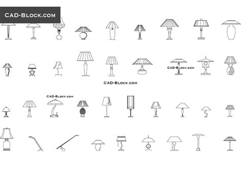 Table lamps CAD Blocks free download