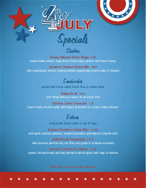 4th Of July Menu Template by July 4th Celebration Specials Menu 4th Of July Menus