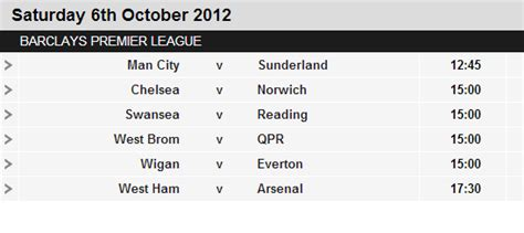 Epl Bbc Fixtures   epl fixtures for saturday 6 october 2012 european