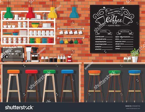 coffee shop flat design modern flat design coffee shop interior stock vector
