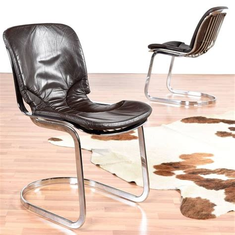 italian leather and chrome dining chairs mid century modern willy rizzo style italian chrome and