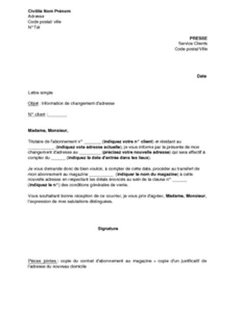 Modele De Lettre Entreprise Client Lettre D Information Du Changement D Adresse De L Abonn 233 D Un Journal Magazine Mod 232 Le De
