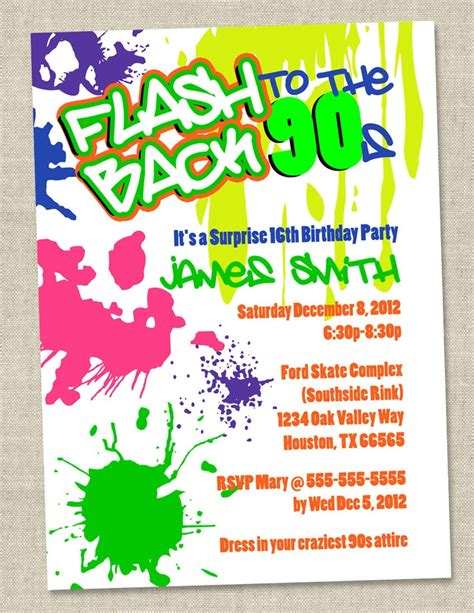 Graffiti Birthday Invitations Neon Party Invitation Retro 80s 90s Invites Printable Digital Themed Invitations Free Templates