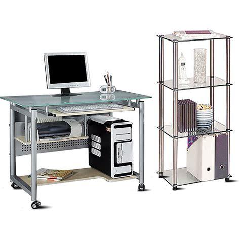 walmart glass desk glass top mobile desk and 4 tier bookcase value bundle walmart