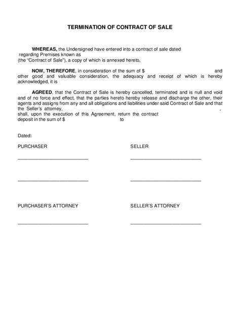 Sle Contract Termination Letter Contractor Termination Of Contract Of Sale Free