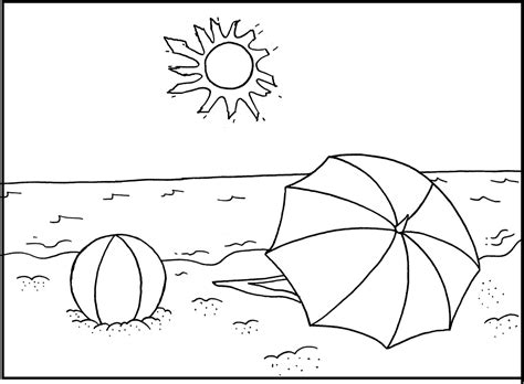 summer beach coloring pages summer sun shines on beach coloring picture for kids