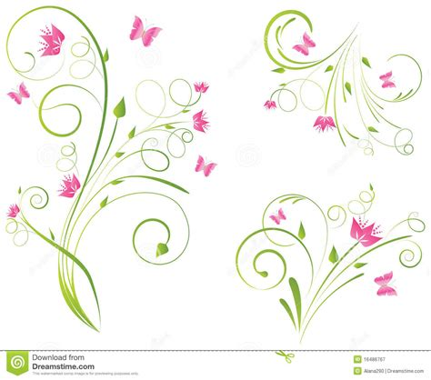 cornici floreali da stare florals designs and butterflies stock vector