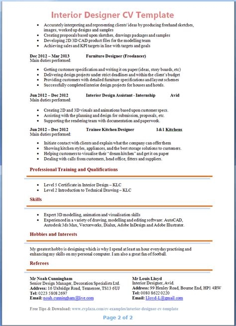 Resume Format Pdf For Engineering Freshers by Interior Designer Cv Template 2