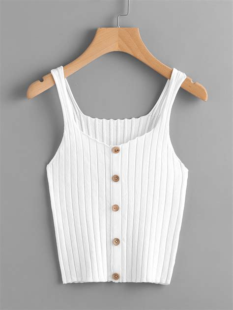 button top button front rib knit tank top shein sheinside