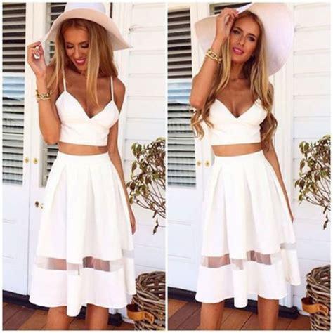 skirt top and skirt set white midi skirt summer