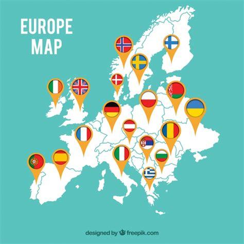 imagenes gratis eu mapa de europa con banderas descargar vectores gratis