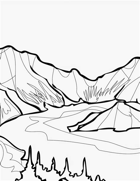 Yosemite National Park Coloring Pages Lake Coloring Page