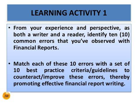 Financial Report Writing financial report writing skills trans net