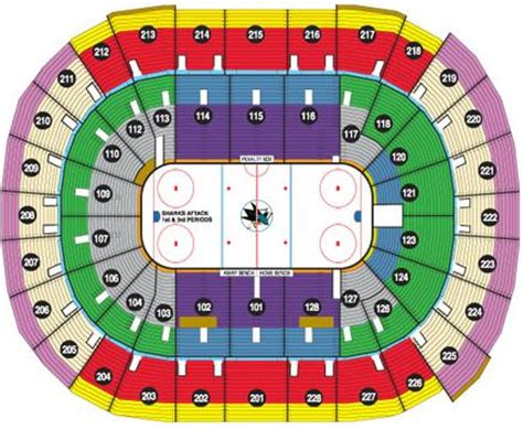 sharks seating chart nhl hockey arenas hp pavilion at san jose home of the