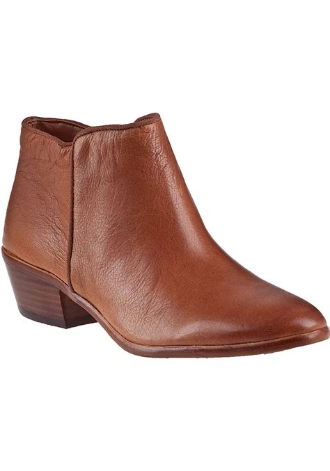 sam edelman brown petty ankle boot saddle leather lyst