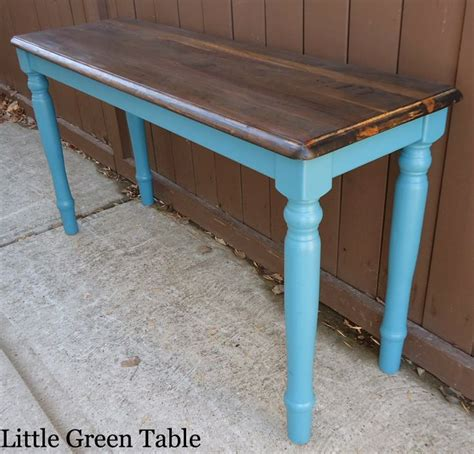 Teal Entryway Table Teal Entry Table With Stained Top Redesigned By