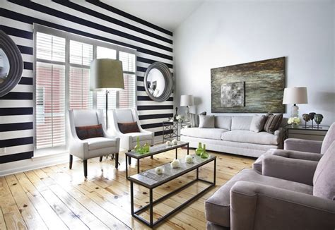 Striped Living Room Wallpaper by Black And White Striped Wall Transitional Living Room