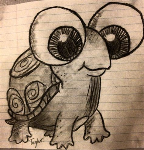 Drawing Big big eyed turtle drawing and draw