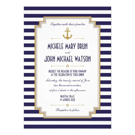 stylish nautical wedding invitation personalized invite