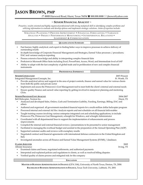senior financial analyst resume exles best financial analyst resume sle
