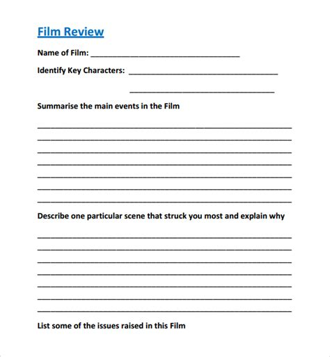 Documentary Review Template sle review template 8 free documents