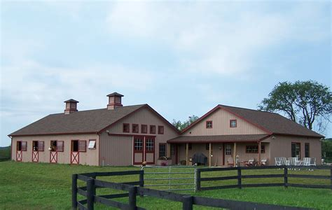 Pole barn house with attached