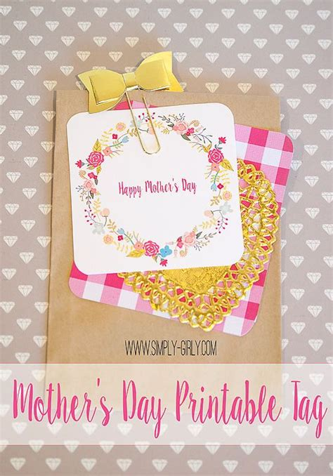 simply girly mothers day  printable gift tag gift