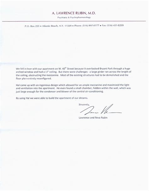 Recommendation Letter For Architect Employee Hal Dorfman Architect Recommendation Letter