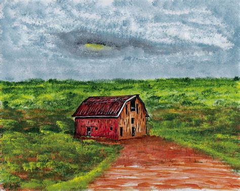 barn in landscape painting by frank arcilesi