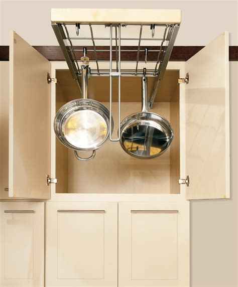 hanging pot and pan organizer contemporary kitchen