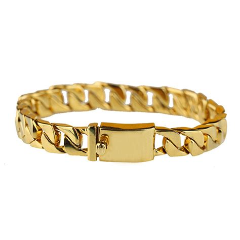 New Gold Chain Design For Men Gold Cuban Link Chains Bracelet Hand Chain For Men   Buy New Gold