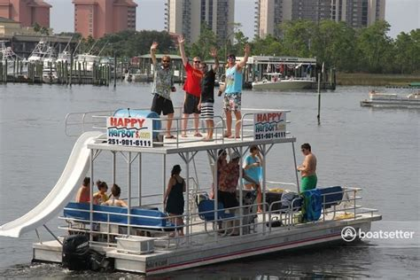 deck boat with slide rent a solid craft double deck pontoon with slide in