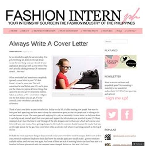 fashion industry internship cover letter