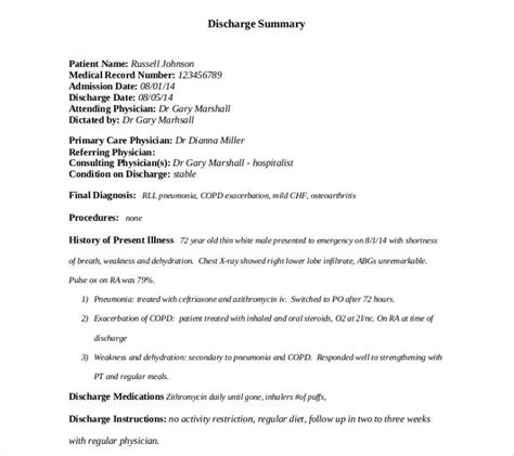 surgery discharge summary template 9 discharge summary templates pdf doc free premium