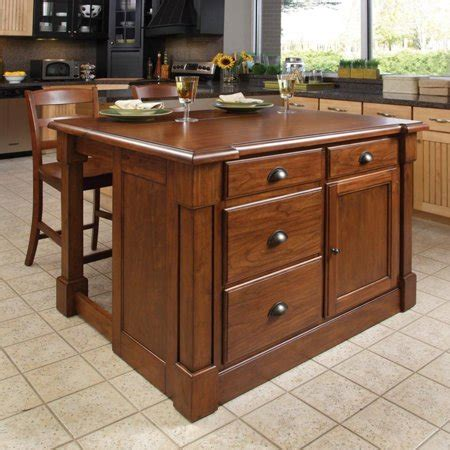 home styles aspen rustic cherry kitchen island and 2 bar