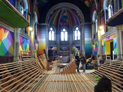 Kaos Colourful Skateboarding 100 year church reinvented as skateboard park design